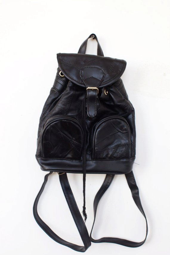 90s black leather backpack bag purse-f39190
