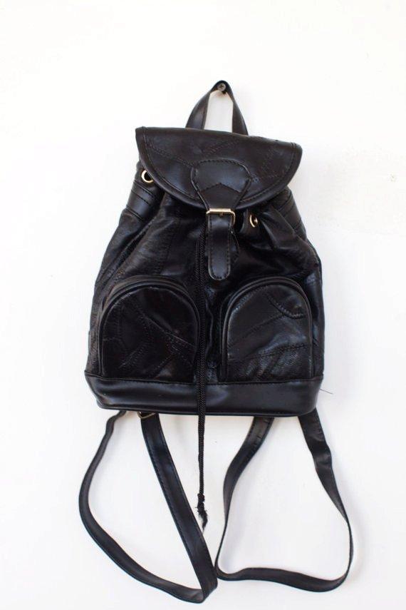 90s black leather backpack bag purse-f39190